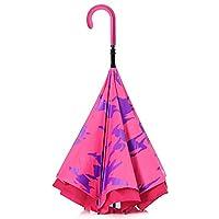 【CARRY saKASA (キャリーサカサ) CityModel】 濡れない傘 逆折り式傘 逆さ傘 逆さま傘 自立式 テフロン撥水 UV99%カット 革命傘 高耐風 (ピンク/ピーチ 柄入り)