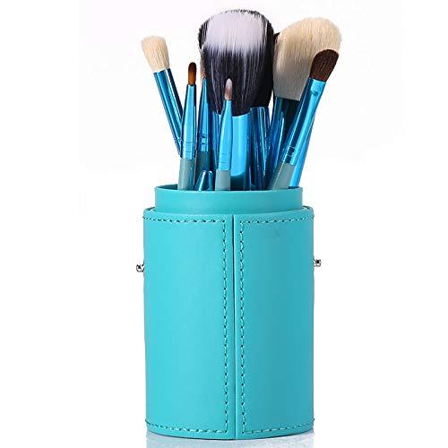 Pinceau De Maquillage Professionnel Set 12 Tube Brosse Débutant Ensemble Complet De Maquillage Maquillage Brosse Baril Brosse Outil Combinaison Bleu