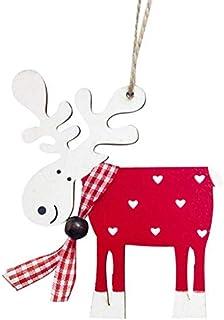 WERNG Feliz Navidad Decoración para el hogar Adornos navideños Navidad 2018 Ciervo Alce de Madera Colgante Feliz año Nuevo 2019 Decoración Navidad Rojo