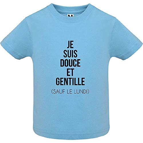 LookMyKase T-Shirt - Manche Courte - Col Rond - Je suis Douce et Rebelle - Bébé Garçon - Bleu - 12mois