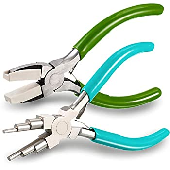 2 Pieces Jewelry Pliers Including 6 in 1 Bail Making Pliers Jewelry Bail Pliers Nylon Nose Pliers for Jewelry Making Beading Looping Shaping Wire DIY Crafts