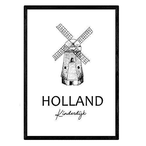 Poster de Holanda - Kinderdijk. Láminas con monumentos de ciudades. Tamaño A3