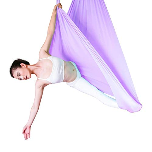 ZHJIUXING SF Soporte para Silla Colgante, Hamaca De Yoga Aérea De 5 M, Correa Elástica para Yoga En Casa, Eslinga Microelástica para Yoga, Purple