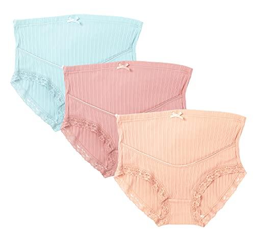 Panegy 産褥ショーツ マタニティ ショーツ ハイウエスト マタニティー下着 パンツ 大きいサイズ ストレスフリー 妊婦パンツ 高弾性 産前 産後 3枚組 ブルー+ピンク+オフホワイト 5XL