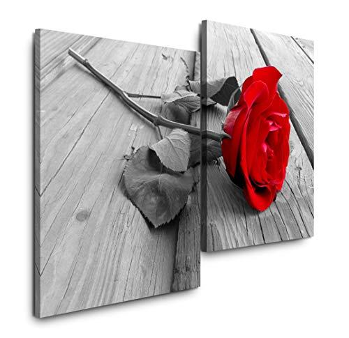 Sinus Art rote Rose auf Holzboden 120x80cm 2 Kunstdrucke je 70x60cm Kunstdruck modern Wandbilder XXL Wanddekoration Design Wand Bild