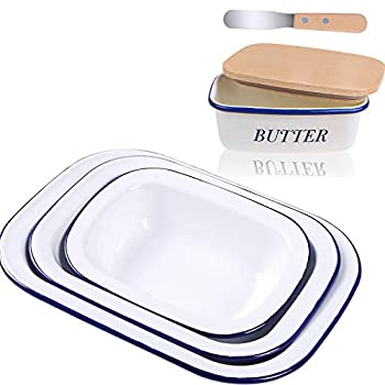 Webake Enamelware Container Farmhouse Pans Enamel Butter Dish with Airtight Wooden Lids and Butter Knife Roasting Pan Set of 3