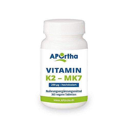 APOrtha Vitamin K2 MK7 200 µg 99+% ALL-Trans I 365 vegan Tabletten hochdosiert I Hochwertiges K2 Vitamin leicht zu schlucken Nahrungsergänzung Vit K2 I Vitamin K 2 Alternative zu K2 Tropfen Kapseln