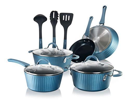 NutriChef Kitchenware 11- Piece Aluminum Cookware Set in Blue