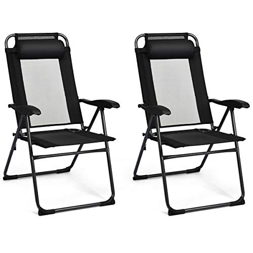 2 PCS Compact Design Adjustable Folding Recliner Chairs Black with Ebook