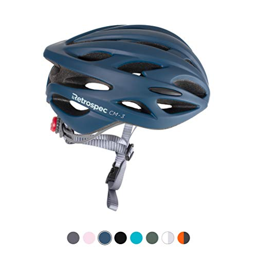 Retrospec CM3 Bike Helmet with LED Safety Light Adjustable Dial and 24 vents Matte Midnight Blue