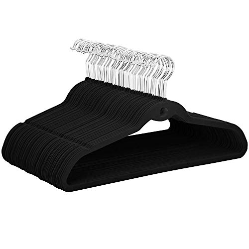 YAHEETECH Cascading Non Slip Velvet Hangers - Heavy Duty - Suit Hangers Space Saving Clothes Hangers 360° Swivel Hook Black - Pack of 100