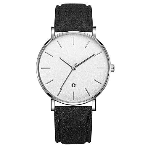 Reloj de pulsera analógico de cuarzo con esfera redonda de moda para hombre Reloj de pulsera para hombre (correa negra, caja de plata, espejo blanco, aguja plateada)