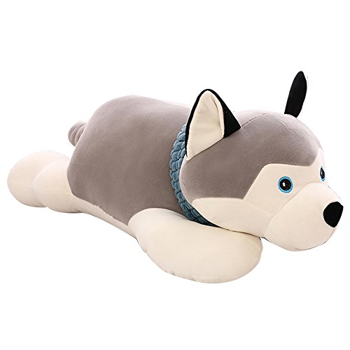 JYSPT Sleeping Dog Husky Hugging Pillow Soft Stuffed Animal Toy Kids Soft Plush Toy Cushion Baby Doll for Boys Girls Kids Birthday Gifts( 60 cm )