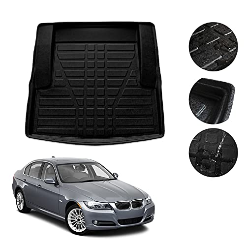 OMAC Alfombrilla para maletero de coche, compatible con BMW Serie 3 E90 2005-2011, ajuste 3D, borde alto, antideslizante, de elastómero termoplástico, color negro