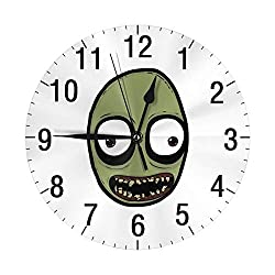 Salad Fingers Silent Decorative 10 Wall Clock - Quartz Sweep - Easy to Read - Round Frame - Battery Operated - White Face - 10 Inch