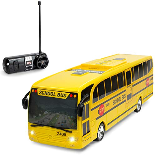 KidiRace Remote Control School Bus with Beaming Lights,...