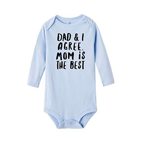 HAOJUE Dad and I Agree Mom Is The Best Baby Pelele para niños y niñas, unisex, manga larga, divertido mameluco para niños (color: RB76-LRPLB-, tamaño: 6M)