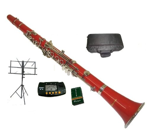Merano B Flat Red / Silver Clarinet with Case+MouthPiece+Metro Tuner+Black Music Stand+11 Reeds