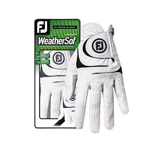 FootJoy Women's WeatherSof Golf Glove, Pack of 2, White Medium, Worn on Left Hand