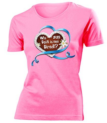 Lebkuchenherz Wo zum deifi is MEI Dirndl 3348 Oktoberfest 2019 Frauen Damen Wiesn T Shirt Oberteile Halstuch Kostüm Lederrock BH Push Up Pink XL