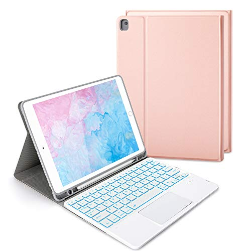 Jelly Comb Beleuchtete Tastatur Hülle mit Touchpad für iPad 2019/2020 10,2 Zoll(8./7. Gen), iPad Air 3, iPad Pro 10,5Zoll, Abnehmbare Kabellose QWERTZ Tastatur mit Schützhülle/Trackpad, Rose Gold