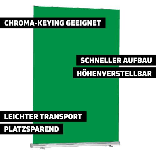 Green Screen, Chromakey-Hintergrund, Roll-Up (150 x 170-270 cm), Premium-Gewebe für Chroma-Keying-Anwendungen