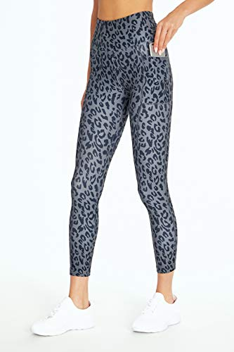 Bally Total Fitness High Rise Pocket Knöchel-Leggings, Damen, knöchellange Leggings, High Rise Pocket Ankle Legging, Leopard Schwarz/Grau, X-Large
