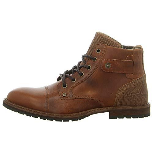 BULLBOXER Herren Stiefel, Männer Schnürstiefel, maennliche rustikal robust Men's Men Man Freizeit leger Boots Chukka,Tan/Cognac,45 EU / 10.5 UK