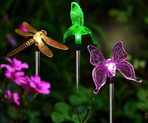 3Pcs Solarleuchten Garten Solar Stableuchten Farbwechsel LED Libelle Kolibri Schmetterling Wasserdicht Solarlampen Außen Dekoration Lichter für Garten, Balkon und Terrasse