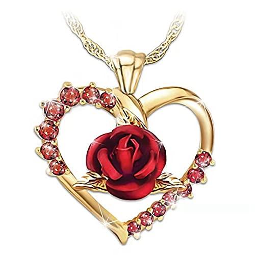 Min Min Collar con colgante de rosa roja de amor, collar de oro para niñas y mujeres, joyería de moda regalo del día de San Valentín