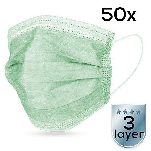 Atemschutzmasken (50 Stück), medizinischer Mundschutz zum Schutz vor Bakterien, 3-lagig, mit elastischen Ohrschlaufen (Grün)