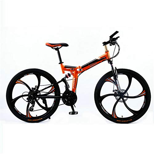 PHY Bicicletta Pieghevole Adulto Mountain Bike Full Suspension Bicicletta Pieghevole 26'21/24 Giri Ruota,24 Speed