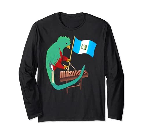 グアテマラケツァルチャピン アンティグア州 旗 ティカルマリンバ 長袖Tシャツ