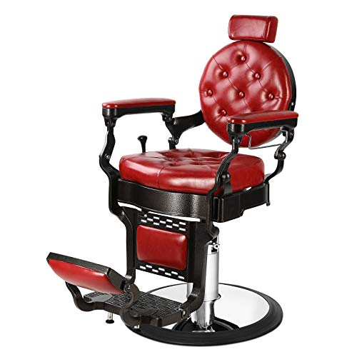 Artist Hand Retro Barber Chair Heavy Duty Barber Chairs Vintage Salon Chair Hydraulic Recline Beauty Spa Styling Equipment Rounded Cushioning with Ppuckered Button (Burgundy)