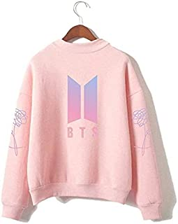 BTS Women Sweater Round High Neck Pullover Casual Printed Love Yourself Sweatshirt