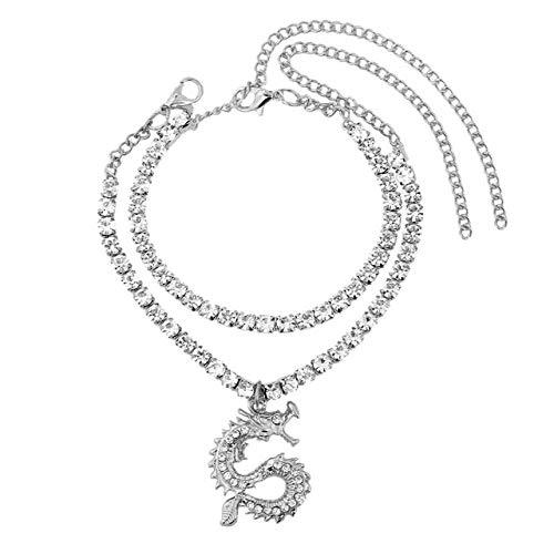 WEIYYY Nueva Tobillera con Cadena de Tenis de Cristal para Mujer, joyería de Cadena de pie con Diamantes de imitación de Color Dorado y Plateado a la Moda, 002902SL