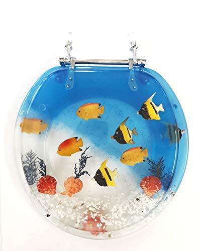 Daniel's Bath & Beyond Polyresin Round Fish Aquarium Toilet Seat, 17', Blue