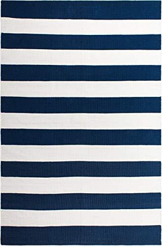 FAB HAB Nantucket - Tapis Bleu & Blanc en Polyéthylène recyclé (Fibres Polyester) pour intérieur/extérieur (120 cm x 180 cm)