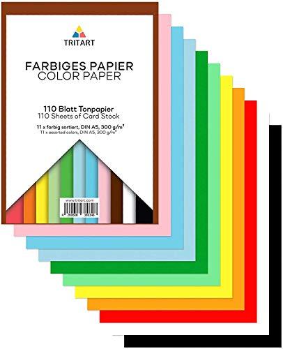 TRIART folios de colores A5 para manualidades - 110 cartulinas 300 gr/m2 en 11 colores surtidos - Hojas de papel para hacer origami - cartas y otros craft DIY - 14,8x21cm de tamaño