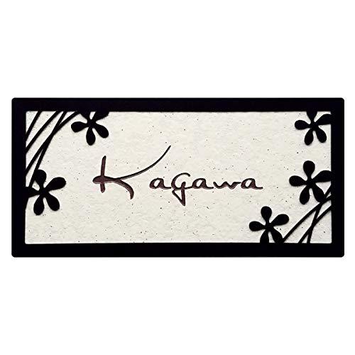 表札 「ちいさい花の模様」 アイアン調ステンレスフレームとタイルの表札 取付けキット付き