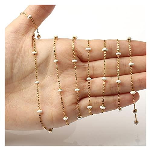 PJ1 1M de color oro de acero inoxidable de acero inoxidable alambre óvalo envuelto con perlas de cadena de rosario para anklet para joyería para hacer bricolaje accesorios hechos a mano Tl0616