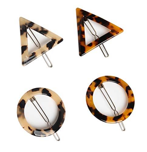 Haarspangen mit Leopardenmuster-Druck, Acryl, geometrische Form, dreieckig und rund, Haarklemmen, Haarschmuck, 2Paar