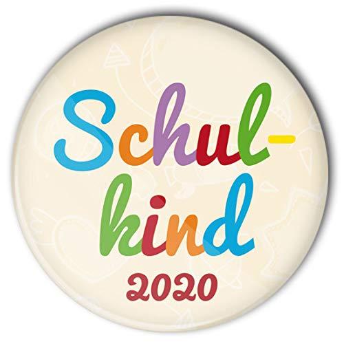 stylebutton® Button Anstecker Schulkinder Geschenk zum Schulanfang 2020 / Einschulung 56 mm (#10 Schulkind bunt)