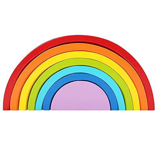Kids Wooden Rainbow Stacker 7 Colors Geometric Building Block Preschool Early Learning Montessori Toy