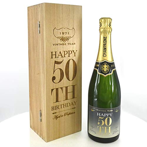 50th Birthday Gift For Him or Her 1x Personalised 75cl Bottle of Champagne Presented in an engraved...