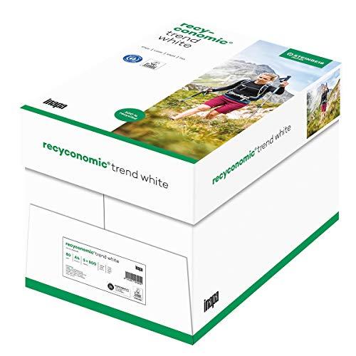 inapa Recycling-Papier, Druckerpapier Recyconomic trend white: 80 g/qm², A4, 5x500 Blatt, matt, CIE-Weiße: 85, 2500 Blatt