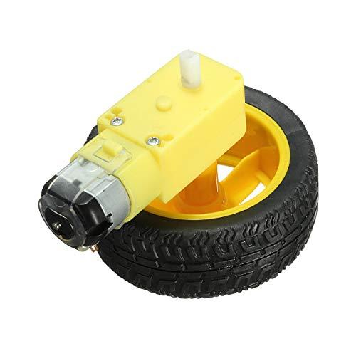 Módulo electrónico Rueda de neumático de plástico 2pcs Pack con motor de engranaje DC 3-6V para automóvil inteligente Equipo electrónico de alta precisión