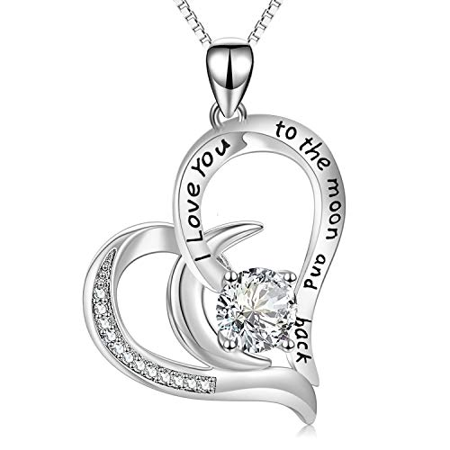 AOBOCO I Love You to The Moon and Back Moon Necklace - Sterling Silver Heart Pendant Necklace with...