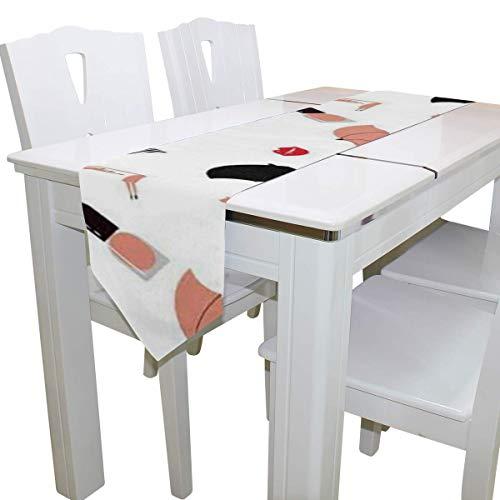 N/A Eettafel Runner Of Dresser Sjaal, Rood Flamingo Paraplu Deck Tafelkleed Runner Koffie Mat voor Bruiloft Partij Banket Decoratie 13x90IN