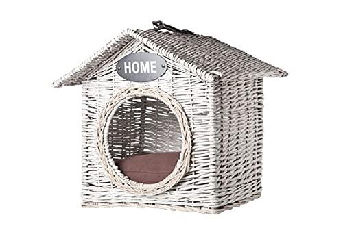 AC-Déco Maison pour Animaux - 50 x 50 x 50 cm - Osier - Blanc